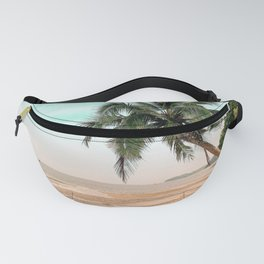 Beach with Palm Tree in Teal and pink Fanny Pack