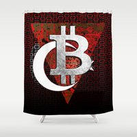 turkey Shower Curtains featuring bitcoin turkey by seb mcnulty