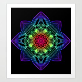 Rainbow Mandala Black Art Print