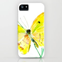 Yellow Butterfly, children butterfly decor kids room, girls room yellow decor butterfly art iPhone Case