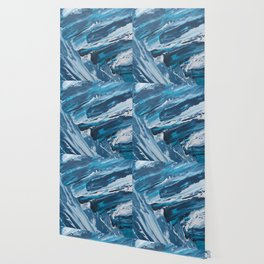 BLUE WAVES | Textured acrylic abstract art by Natalie Burnett Art Wallpaper