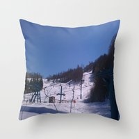 skiing Throw Pillows featuring skiing place by westchestrian_art