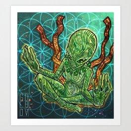 meditating alien Art Print