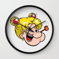 popeye Wall Clocks featuring Popeye the Sailor Moon by unluckyxiii