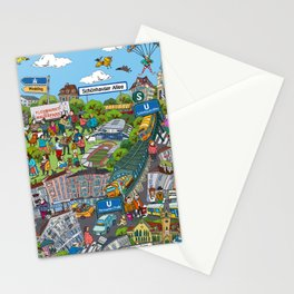 Illustrated map of Berlin-Prenzlauer Berg Stationery Cards