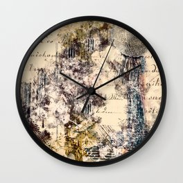 French Script Collage Antique Handwriting Wall Clock