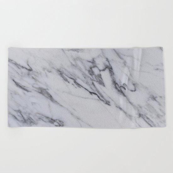 Marble - Black and White Gray Swirled Marble Design Beach Towel