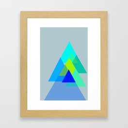 Triangles - blues color scheme Framed Art Print