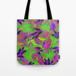 exotic green, pink and purple plants pattern Tote Bag