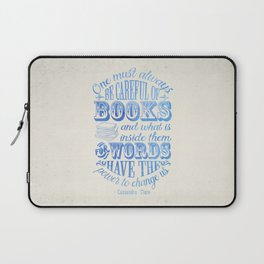 Be Careful Of Books - White and Blue Laptop Sleeve