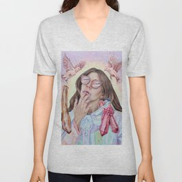 Light and Magic - Pastel and Neon Acrylic Painting Unisex V-Neck