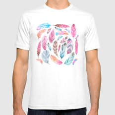Watercolor coton White MEDIUM Mens Fitted Tee