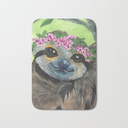 Flower Crown Sloth Bath Mat