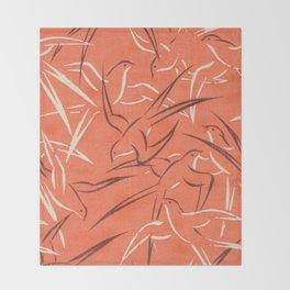 Retro Red Swallows Throw Blanket