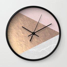 Geo tri - rose gold & concrete Wall Clock