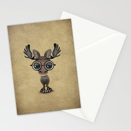 Cute Curious Baby Moose Nerd Wearing Glasses Stationery Cards