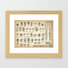 COCKTAIL poster, cocktail chart print Framed Art Print
