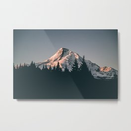 First Light on Mount Hood Metal Print