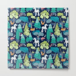 Geometric whimsical wonderland // navy blue background green forest with unicorns foxes gnomes and mushrooms Metal Print
