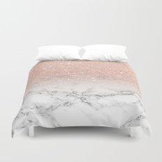 Modern faux rose pink glitter ombre white marble Duvet Cover