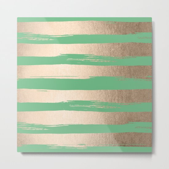 Painted Stripes Gold Tropical Green Metal Print