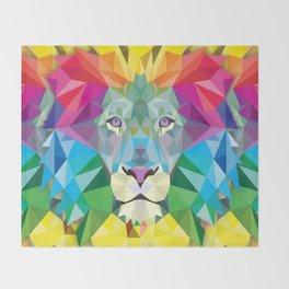 Geometric Rainbow Lion Throw Blanket