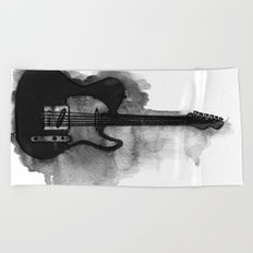 black and white electric guitar Beach Towel