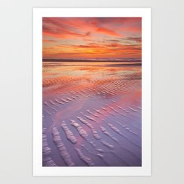 II - Beautiful sunset and reflections on the beach at low tide Art Print