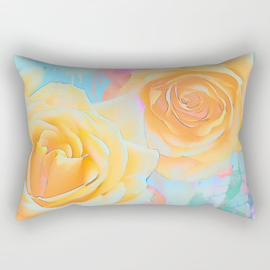 Pastel roses on an abstract water colour background Rectangular Pillow
