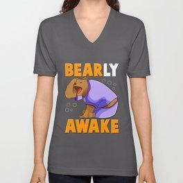 Bearly Awake Funny Barely Awake Sleepy Bear Pun Unisex V-Neck