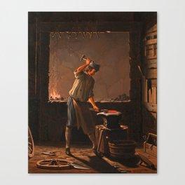 PEHR HILLESTRÖM, INTERIOR OF A SMITHY. Canvas Print