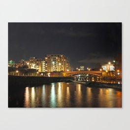Bridge over the Rver Aire at night Canvas Print