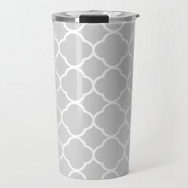 Gray & White Quatrefoil Travel Mug