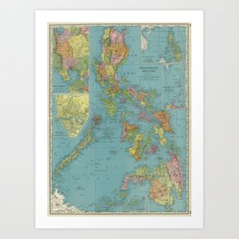 Vintage Map of The Phillipines (1903) Art Print