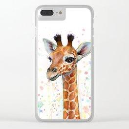 Giraffe Baby Animal Watercolor Whimsical Nursery Animals Clear iPhone Case