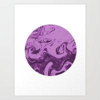 Marble circle minimal design suminagashi japanese marbling minimalist art pastel purple white Art Print