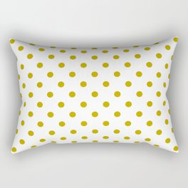 White and Gold Polka Dots Rectangular Pillow