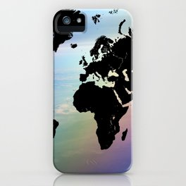 Rainbow Ocean World Map iPhone Case