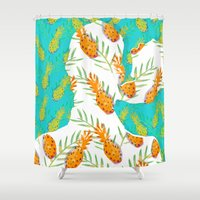 pineapples Shower Curtains featuring Pineapples by terezamc.