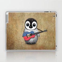 Baby Penguin Playing Haitian Flag Acoustic Guitar Laptop & iPad Skin
