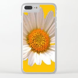 DECORATIVE MUSTARD YELLOW MODERN DAISY ART Clear iPhone Case