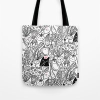 vegetables Tote Bags featuring Funny Vegetables by Anna Alekseeva kostolom3000