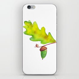 Oak leaf with acorn watercolor iPhone Skin