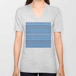 Aztec Influence Pattern II Blues Black White Unisex V-Neck