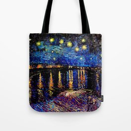 Over the rhone(starry night) Tote Bag