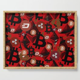 Сrypto currencies money pattern Serving Tray