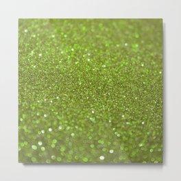 Bright Lime Glitter Metal Print