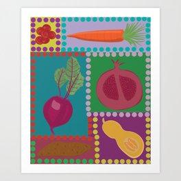 Fun Fruits and Veggies Art Print