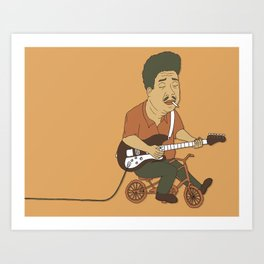 Muddy Waters riding a small bicycle Art Print