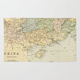 Vintage Map of The South Of China Rug